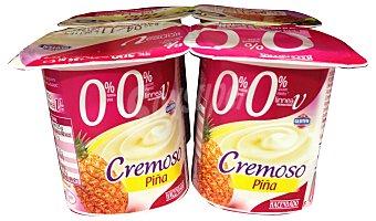 HACENDADO Yogur desnatado cremoso piña  4 unidades de 125 g (500 g)
