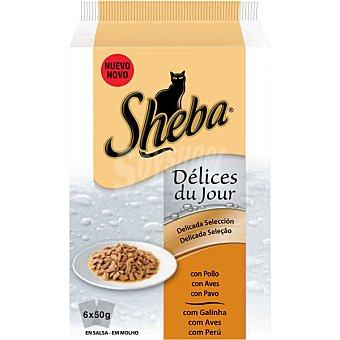 Sheba Delicada selección con pollo para gatos 6 bolsas de 50 g