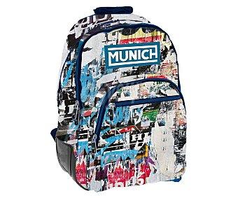 Mochila juvenil de gran formato, bolsillo delantero, espalderas acolchadas, diseño grafitti, munich.