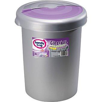 Handy bag Cubo de basura Girafácil con abertura ahorra espacio con tapa rosa 30 l