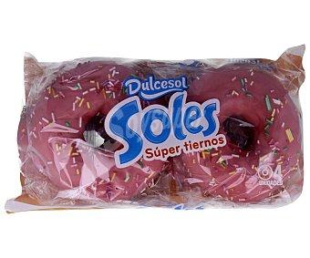 Dulcesol Rosquillas bañadas de azúcar rosa 4 unidades 200 gramos