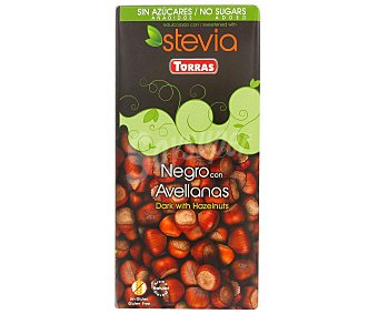 Torras Chocolate negro con avellanas sin azúcares añadidos con stevia Tableta 125 g