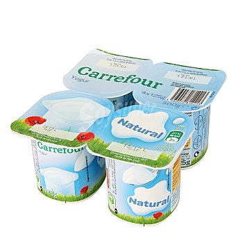 Carrefour Yogur natural pack de 4x125 g