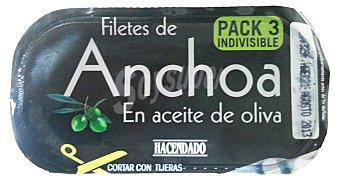Hacendado Anchoa filete aceite oliva Pack 3x29g (87 g)
