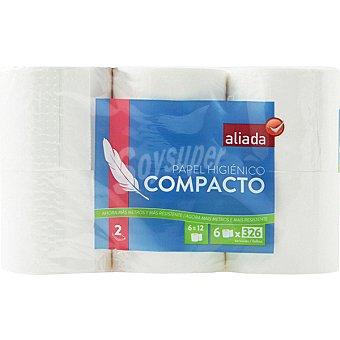 Aliada Papel higiénico blanco compacto 2 capas Paquete 6 rollos