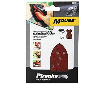 PIRANHA Hojas de Lija Gruesas para Mouse Grano 80 5 Unidades