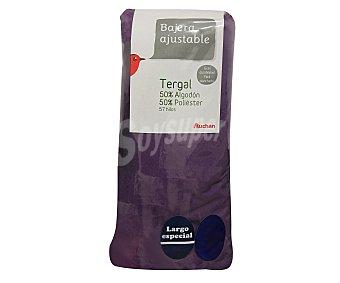 Auchan Sábana bajera ajustable color morado para cama de 135 centímetros 1 unidad