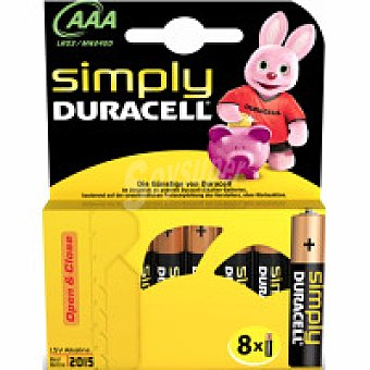 AAA8 DURACELL Pila alcalina simply Pack 8 unid