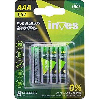 Inves Pila alcalina AAA(LR03) 1,5 voltios 0% mercurio y cadmio blister 8 unidades Blister 8 unidades