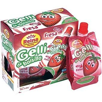 Postres Reina Gelli de bolsillo sabor fresa Pack 4 envase 90 g