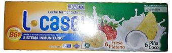 HACENDADO Yogur liquido L casei piña-coco/fresa-plátano  12 unidades de 100 g