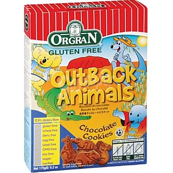ORGRAN Free From Galletas de chocolate en forma de animales sin gluten Envase 175 g