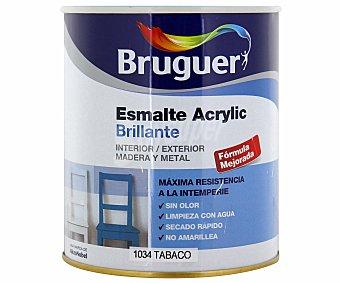 Bruguer Esmalte decorativo acrílico, de color marrón tabaco y acabado brillante 0,75 litros