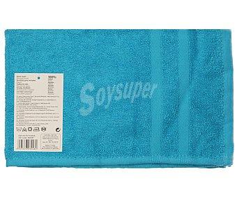 Productos Económicos Alcampo Toalla 100% algodón color turquesa para tocador, densidad de 360 gramos/m², 30x50 centímetros 1 unidad