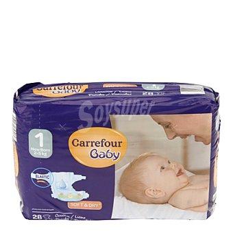 Carrefour Baby Pañal con elástico T1 de 2-5 Kg. 28 ud