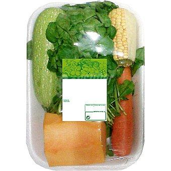 Potaje de berros contiene berros, calabaza, zanahoria, maíz y calabacín peso aproximado Bandeja 1 kg