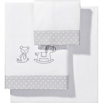 DOMBI Juego de sábanas con bordado de oso y caballo con cenefa de topitos para cuna