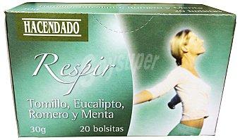 Hacendado Infusion mezcla eucalipto/tomillo/romero/menta (respir) 20 bolsitas - 30 g