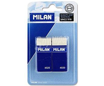 Milan Lote de 2 gomas de borrar del tipo miga de pan, rectangulares y de color blanco 4020 4020