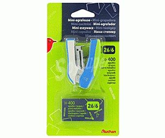Auchan Mini grapadora + caja de 400 grapas rectangulares del número 26/6 1 unidad