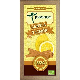 JOSENEA Chocolate negro con canela y limón 56% cacao Bio  tableta de 100 g