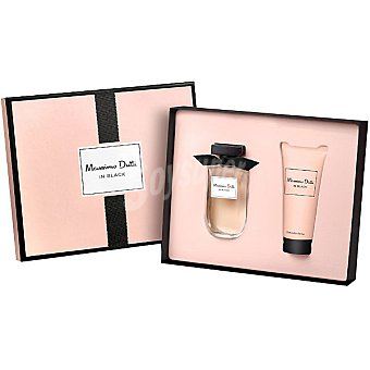 MASSIMO DUTTI In Black Her eau de toilette natural femenina + body lotion tubo 100 ml Spray 80 ml