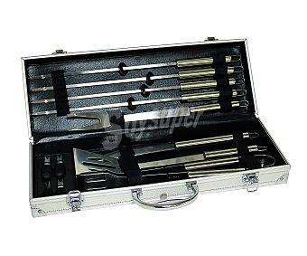 GARDEN STAR Maletín metálico que incluye 12 accesorios par barbacoa de acero inoxidable 1 unidad