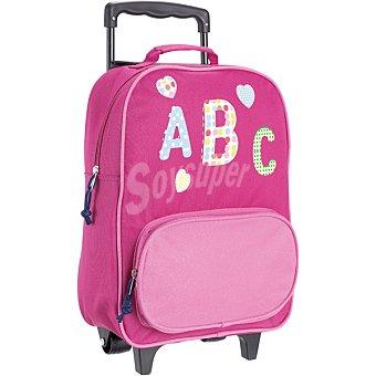 Huamin Mochila infantil de abecedario en color rosa con ruedas