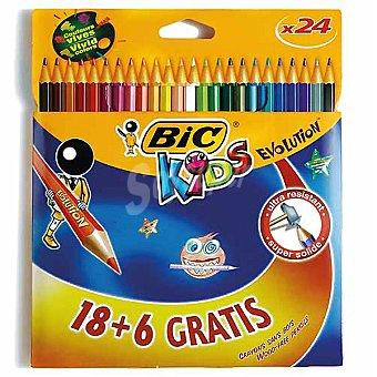 BIC Kids  ápices de colores Evolution + 6 gratis estuche con 18 l