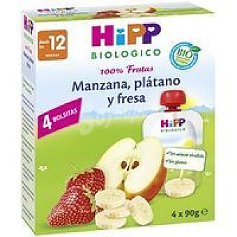 HiPP Biológico Puches de manzana-plátano-fresa Pack 4x90 g