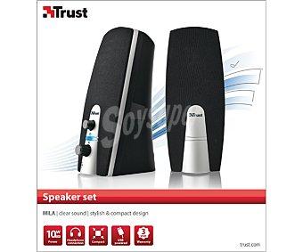 TRUST MILA Altavoces 2.0, potencia 5w (rms), control de volumen, conexión para auriculares, alimentación por Usb 2.0