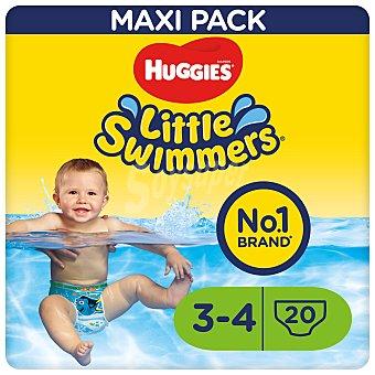 Little Swimmers Huggies Pañales bañador talla 4, para niños de 7 a 15 kilogramos 20 uds