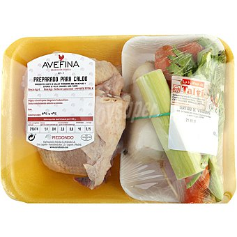 AVEFINA Cuarto de gallina con verduras para caldo bandeja peso aproximado 500 g
