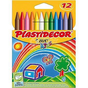 Plastidecor Bic Estuche con 12 ceras para colorear Kids  12 unidades