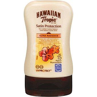 Hawaiian Tropic Loción solar FP-15 Satin Protection (tamaño viaje y resistente al agua) Frasco 100 ml