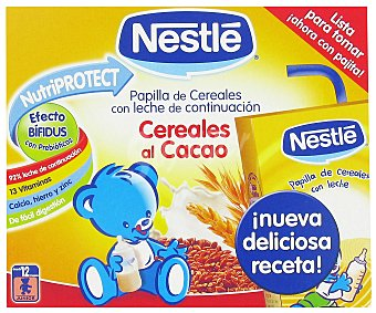 Nestlé Papilla Líquida de Cereales al Cacao con leche de continuación desde 12 meses 2x250g