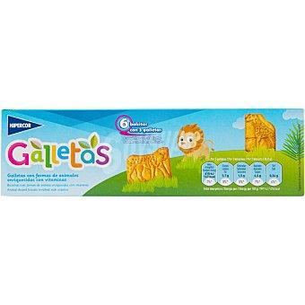 Hipercor Galletas con formas de animales enriquecidas con vitaminas 6 bolsitas con 3 galletas Estuche 185 g