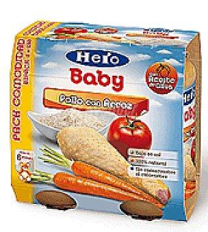Hero Baby Tarrito de pollo con arroz Pack de 2x250 g