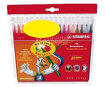 Stabilo Caja de 18 rotuladores con punta bloqueada media, con tinta lavable y de diferentes 18 unidades