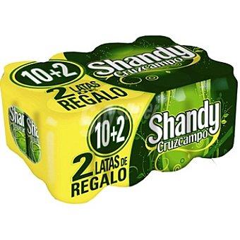 Shandy Cruzcampo Cerveza sabor limón pack 10 lata 33 cl + 2 latas de regalo Pack 10 lata 33 cl