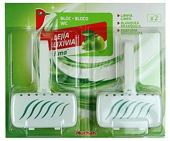 Auchan Colgador de WC con fragancia lima para limpiar, blanquear y perfumar el WC 2 unidades