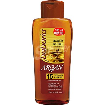 Babaria aceite bronceador solar de Argán FP-15 resistente al agua frasco 300 ml