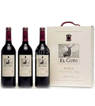 El Coto Estuche cartón con 3 botellas de vino d.o.ca. Rioja 75 cl