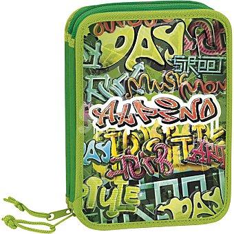 ALPINO plumier pequeño doble graffiti verde