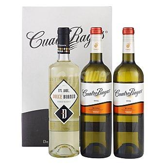 """Dolce Bianco Estuche de 2 vinos D.O. """"rueda"""" cuatro rayas blanco verdejo + 1 botella de vino verdejo frizzante Pack 3x75 cl"""