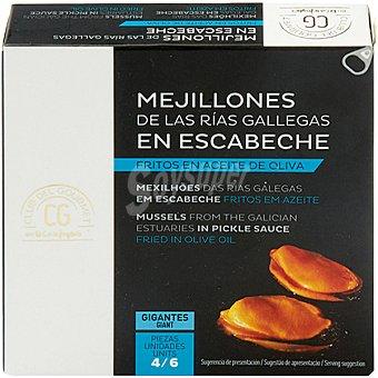 Club del gourmet Mejillones de las Rías Gallegas en escabeche fritos en aceite de oliva 4-6 piezas lata 69 g lata 69 g