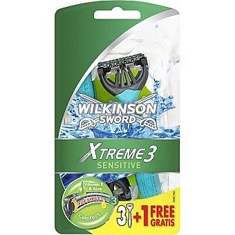 WILKINSON Xtreme 3 Maquinilla de afeitar desechable Sensitive bolsa 3 unidades + 1 gratis Bolsa 3 unidades + 1 gratis