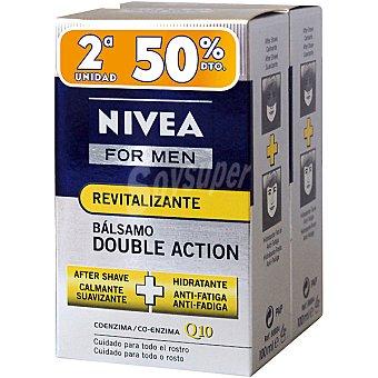 Nivea After shave bálsamo revitalizan For Men Doble Action Q10 pack 2 frasco 100 ml (pack precio especial 2ª unidad al 50%) Pack 2 frasco 100 ml