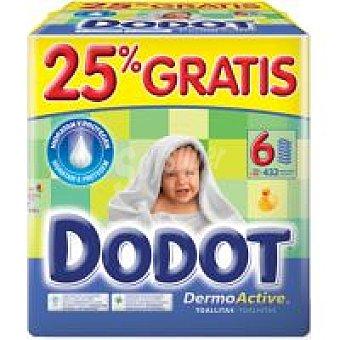 Dodot Toallitas dermo 6 paquetes de 72 unidades