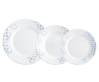 LUMINARC Vajilla de 18 piezas modelo Melia, fabricada en vidrio Opal con un elegante y moderno diseño geométrico con círculos superpuestos de color azul sobre fondo blanco 18 piezas